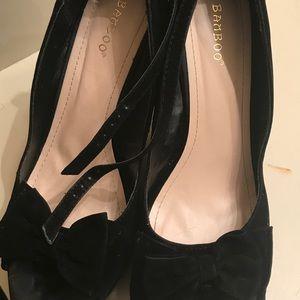 BAMBOO Shoes - Wedge peep toe velvet shoes